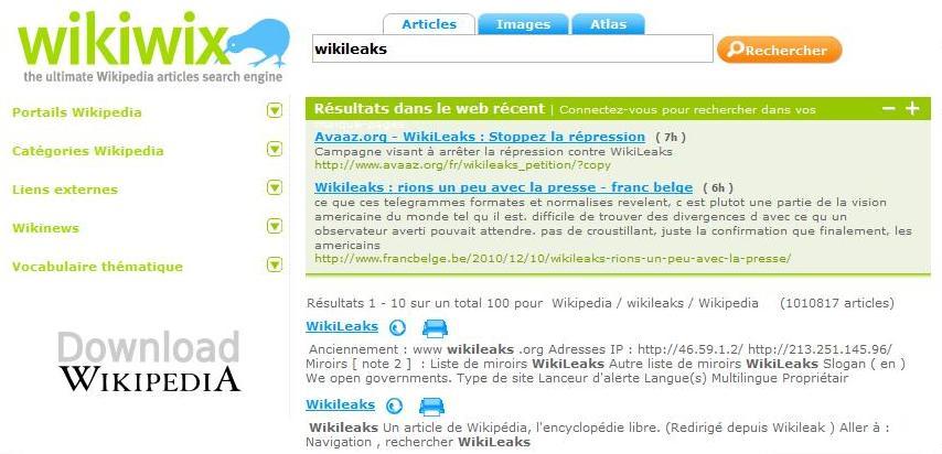 Recherche Wikiwix pour le mot Wikileaks, vue classique