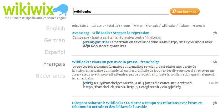 Recherche Wikiwix pour le mot Wikileaks, vue Résultats dans le web récent