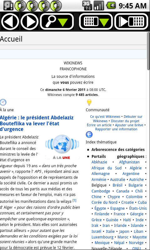 Version Android d'Okawix - Page d'accueil de Wikinews