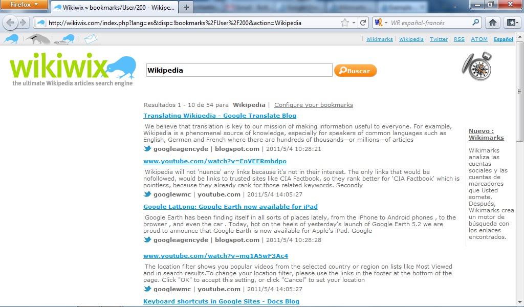 Pagina de resultados de Wikimarks