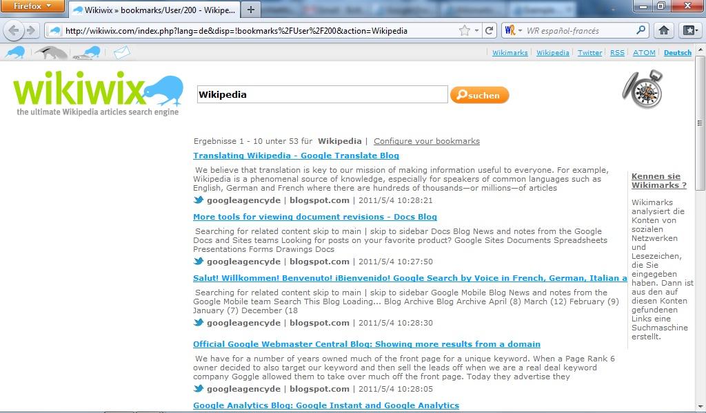 Wikimarks-Ergebnisseite